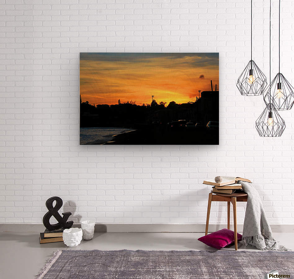 St Kitts Basseterre sunset  Wood print