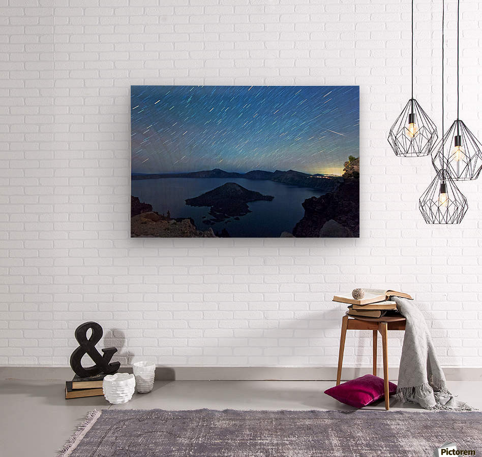 Perseid Over Crater Lake 8 11 2015  Wood print