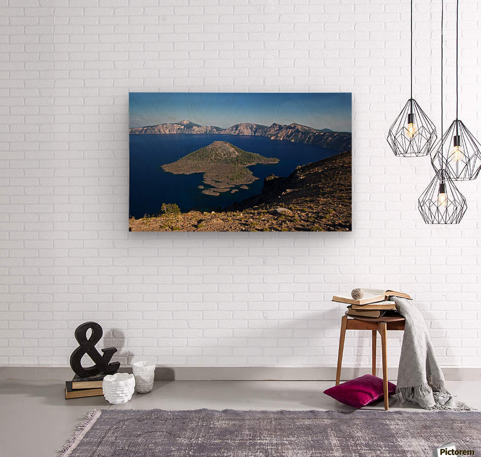 West rim view of Crater Lake overlooking Wizard Island  Wood print