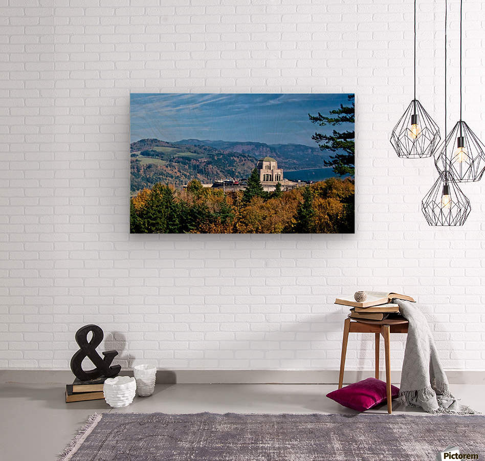 Crown Point overlooking Columbia River Gorge with fall colors  Wood print