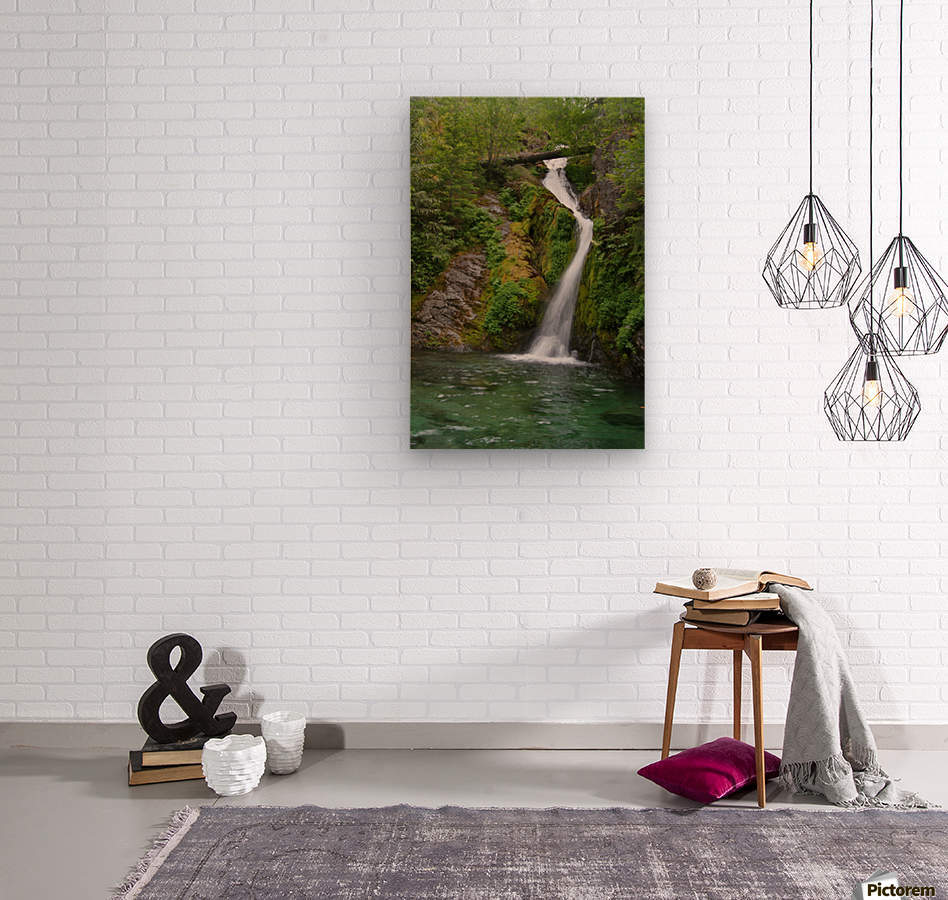Full view of Sullivan Falls in the Opal Creek Wilderness, Oregon  Wood print
