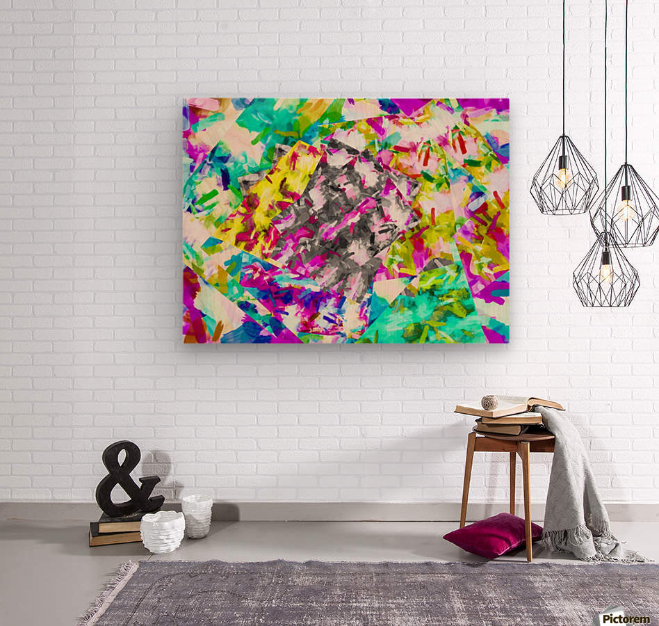 psychedelic splash painting abstract in pink blue yellow green purple  Wood print