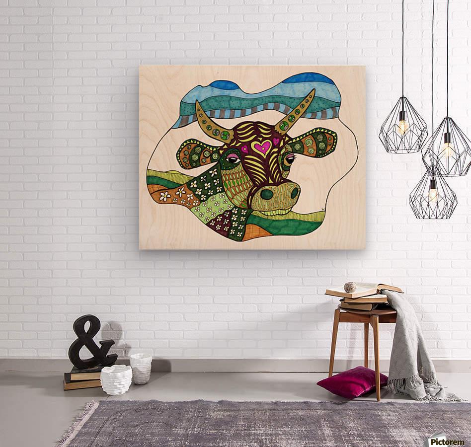 Elsie Cow  Wood print