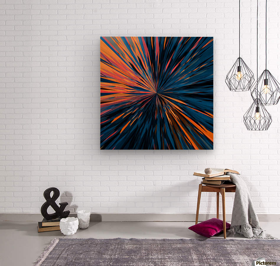 psychedelic splash painting abstract pattern in orange brown pink blue  Wood print