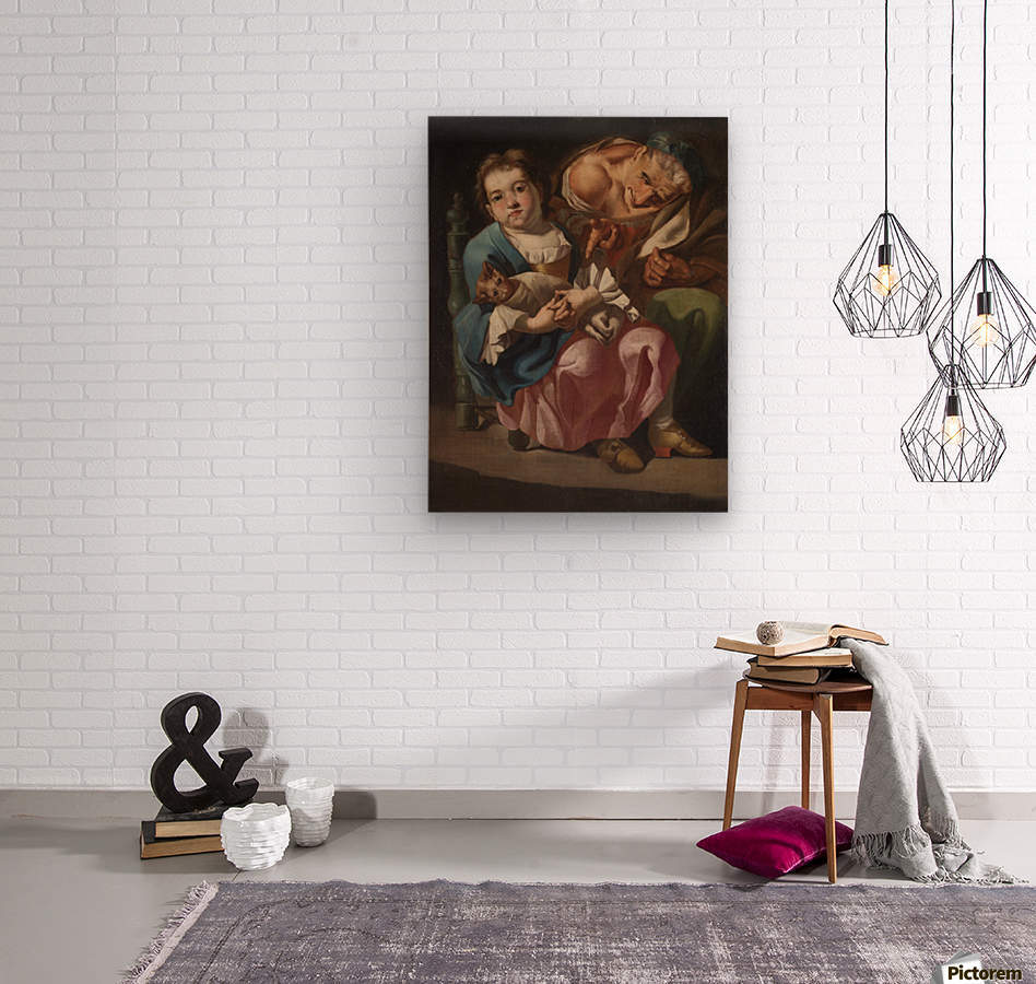 An old lady with little girl and kitty  Impression sur bois