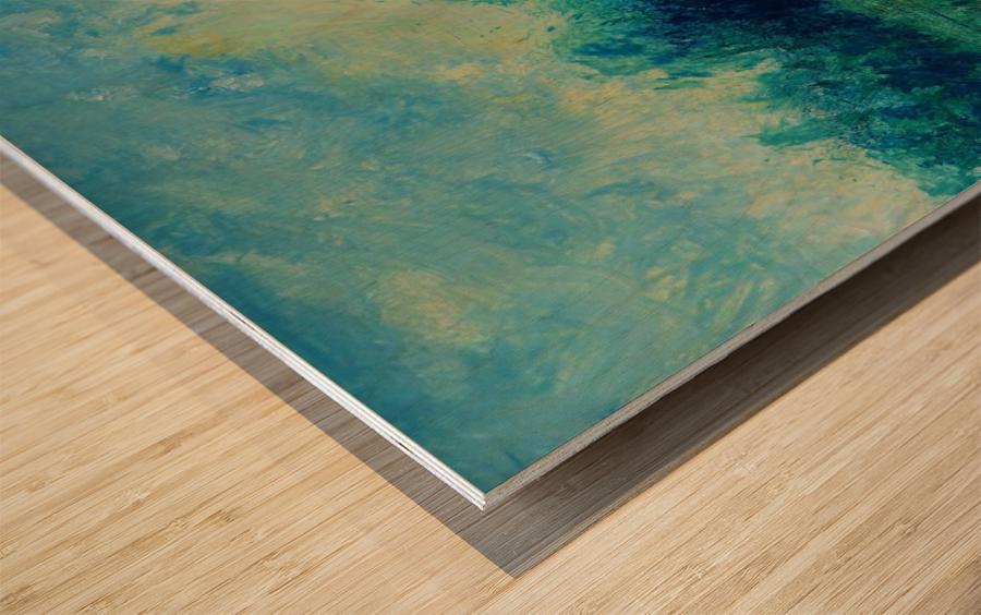 Landscape and Sun Wood print