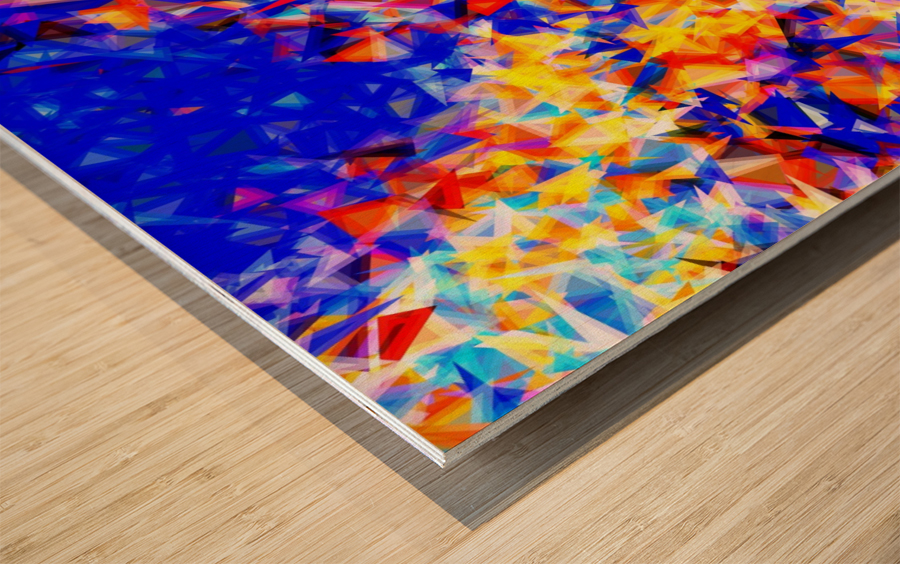 psychedelic geometric triangle abstract pattern in blue orange yellow Wood print