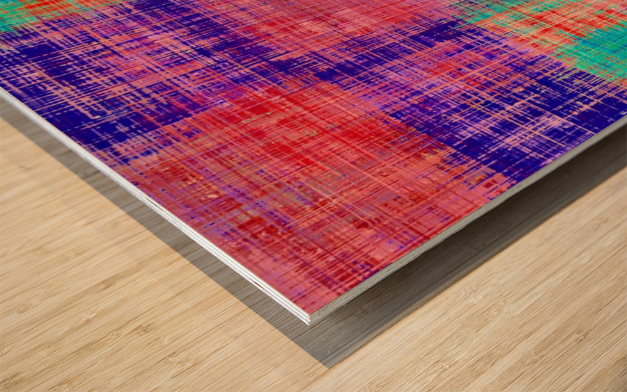 square plaid pattern texture abstract in red blue pink purple Wood print