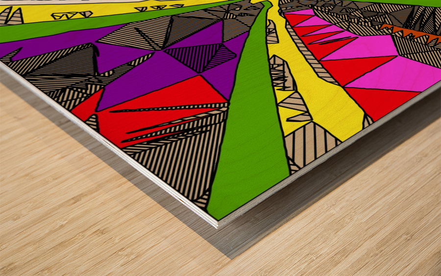 psychedelic geometric pattern drawing abstract background in red pink green yellow Wood print