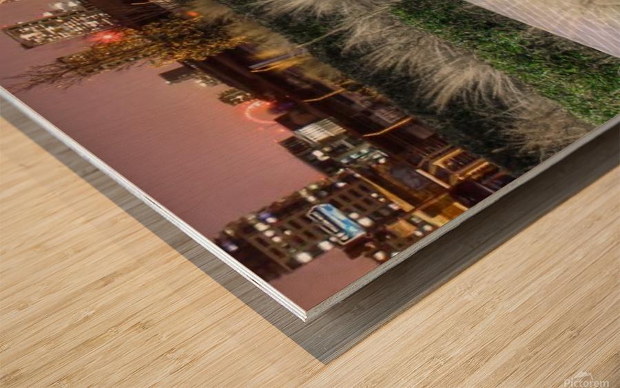 London Night Skyline Wood print