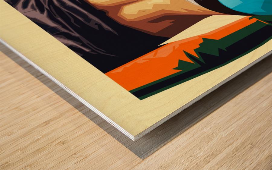 Sky Blue Orange Wood print