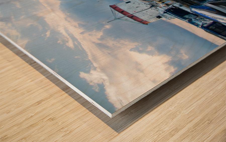 Dawn at the Marina Wood print