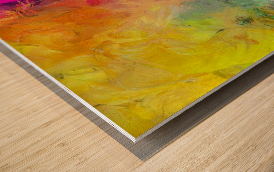 Bright Colorful Abstract Painting Wood print