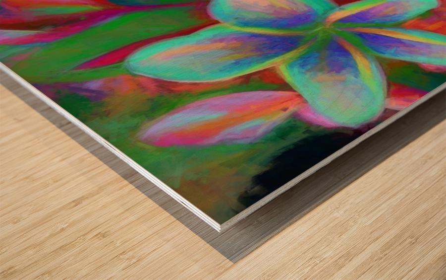 Painterly Frangipanis Wood print