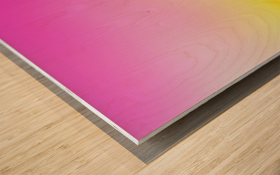 pink to yellow Gradient Background Wood print