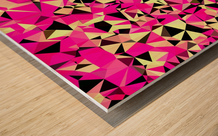 geometric triangle pattern abstract in pink and black Wood print