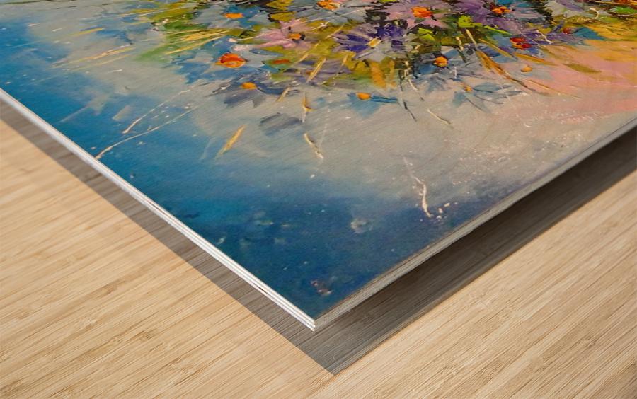 A bouquet of blue flowers Wood print