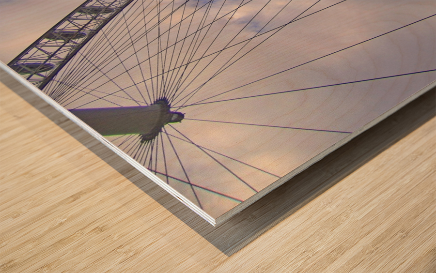 Looking up at The London Eye Wood print