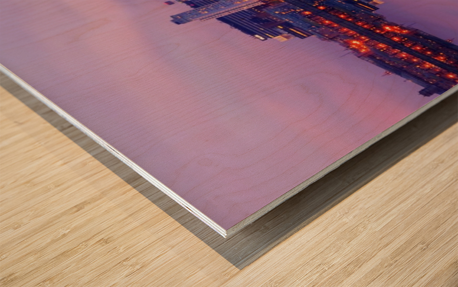 LIV 007 Liverpool Skyline   PANORAMIC Wood print