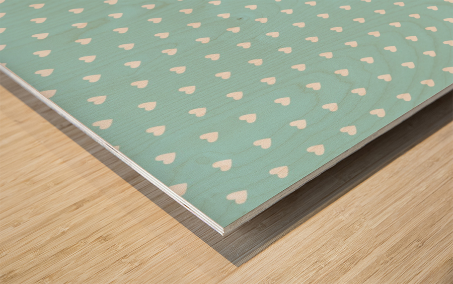 Light Blue Heart Shape Pattern Wood print
