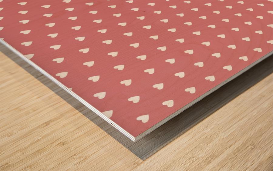 Light Red Heart Shape Pattern Wood print