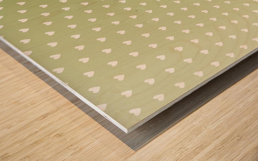 Kids Green Heart Shape Pattern Wood print