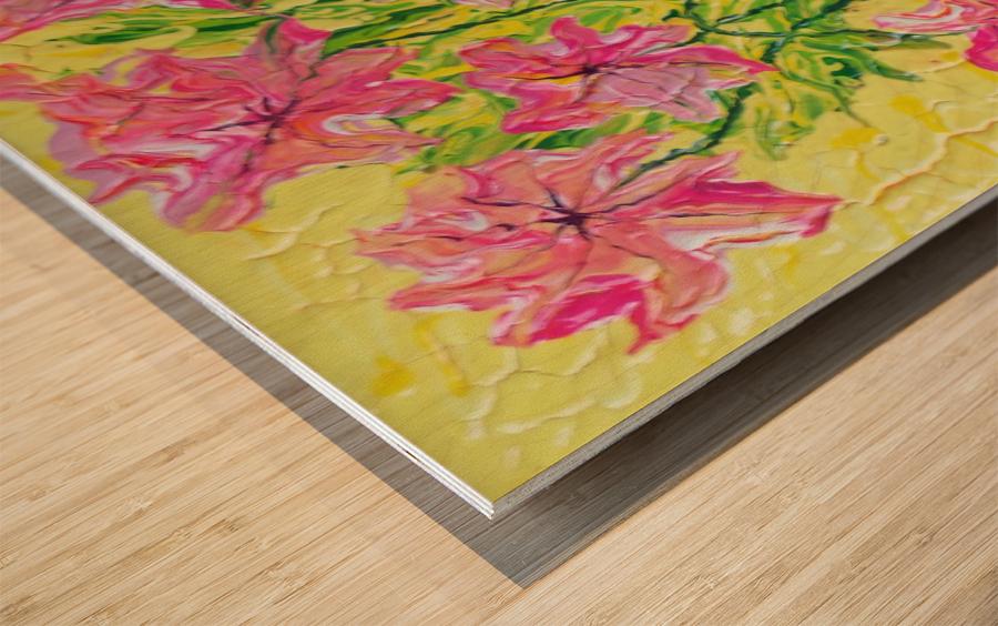 Pink Flowers in vase  Wood print