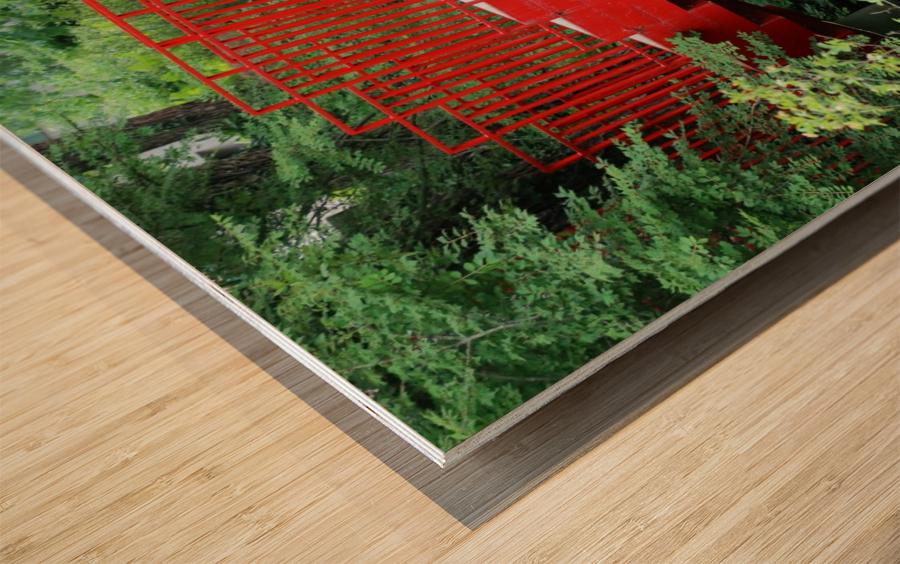 Dow Gardens Red Footbridge 062618 Wood print