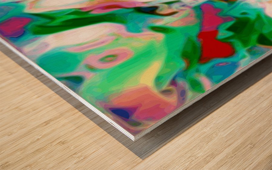 Waterfall vertical - multicolor abstract swirls Wood print