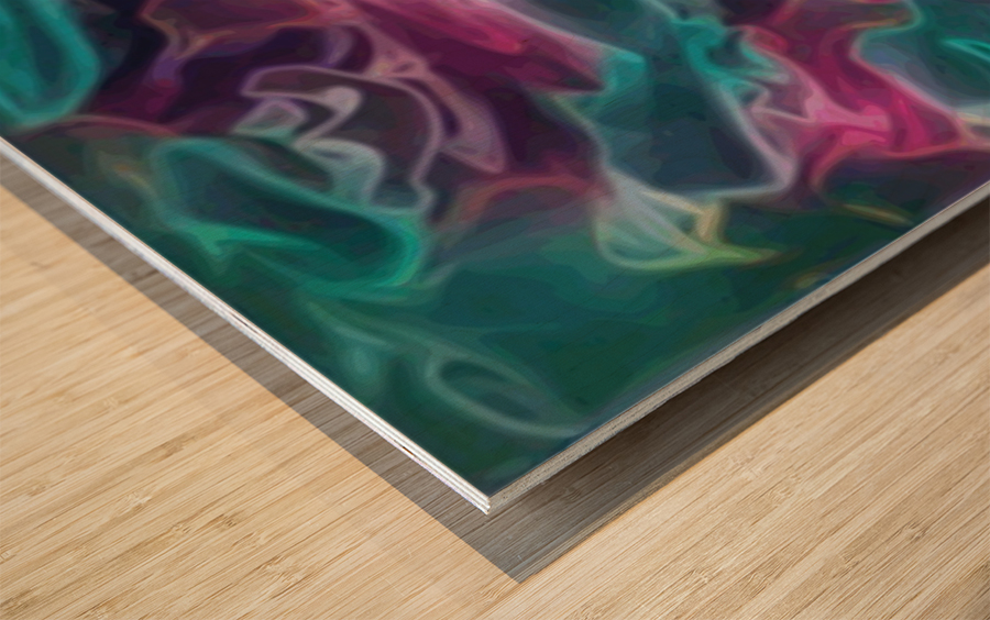 Feminine Waters - turquoise pink purple swirls Wood print