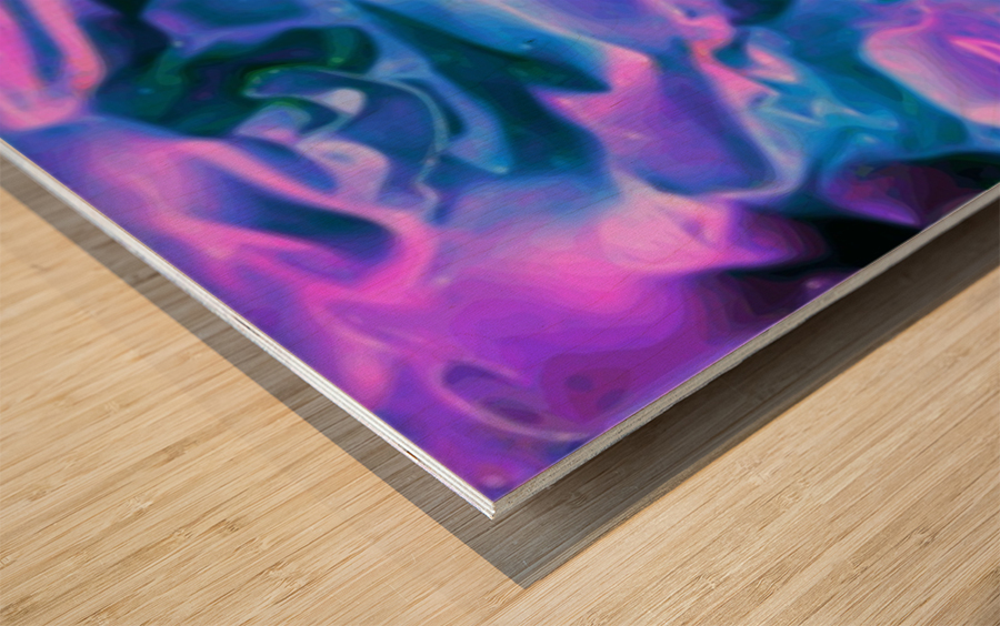 Purple Ice - purple blue abstract swirl wall art Wood print