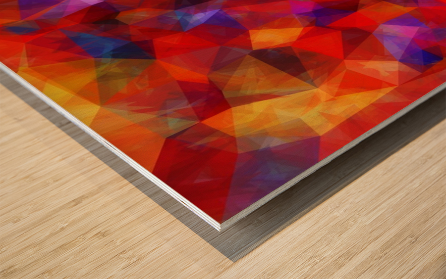geometric triangle pattern abstract background in red blue yellow Wood print