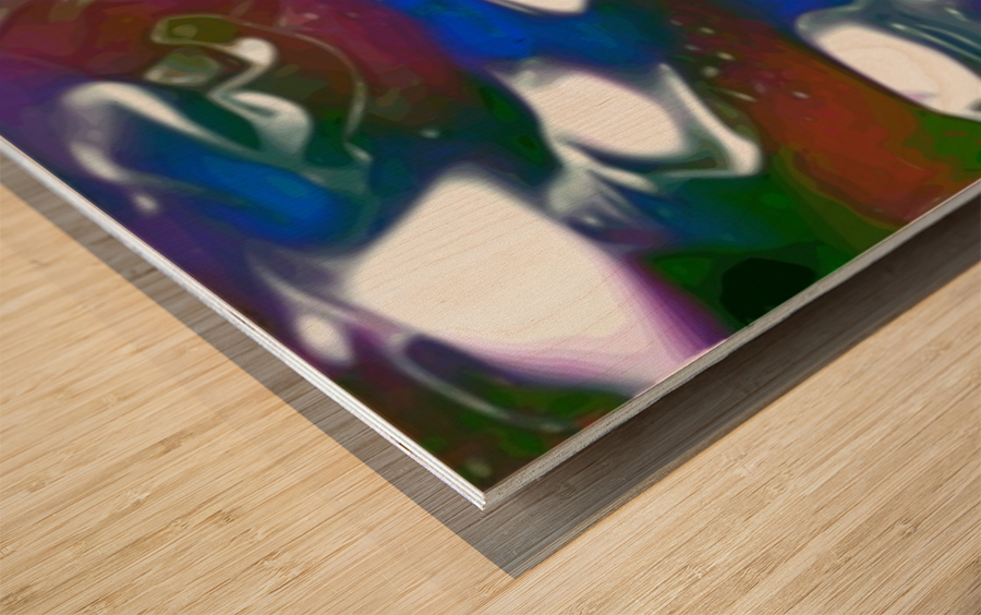 Morphing Dreams - blue green purple swirls and spots large abstract wall art Wood print