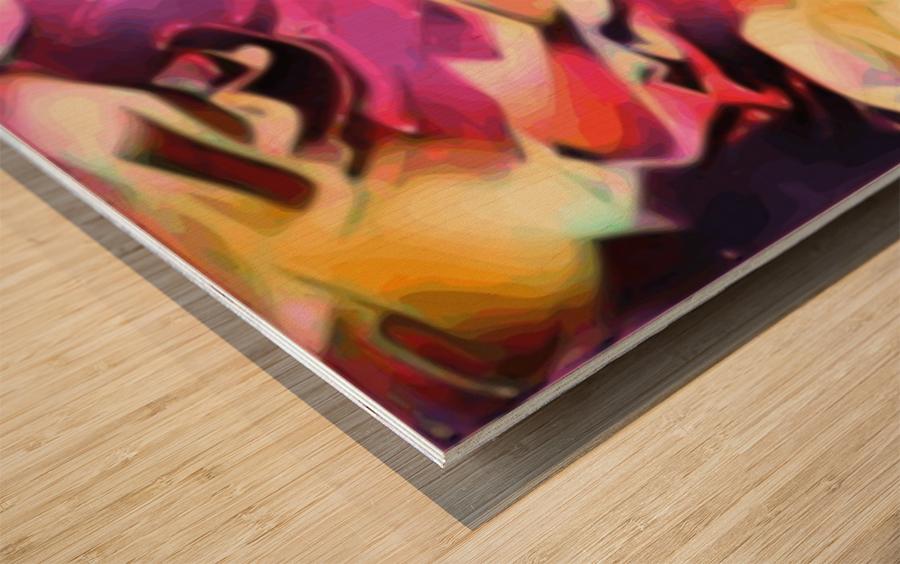 Rising Glow - multicolor swirls abstract wall art Wood print
