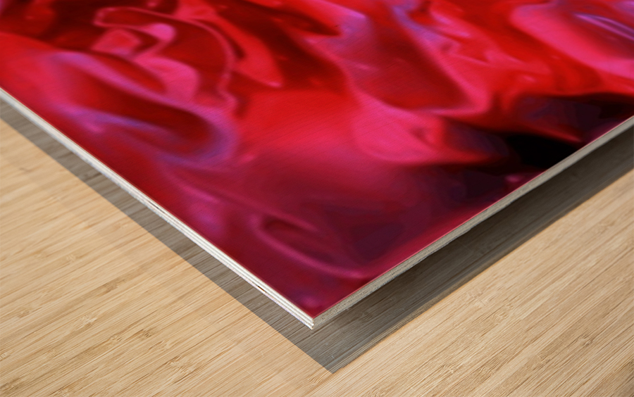 Red Field - violet black pink swirls abstract wall art Wood print