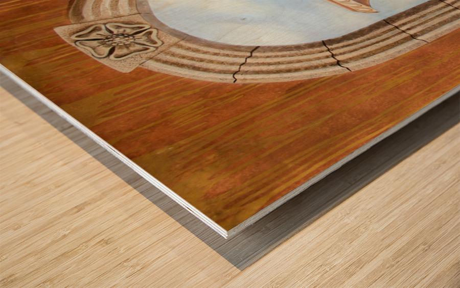 Marbled Urn Alcove - Trompe Loeil Wood print