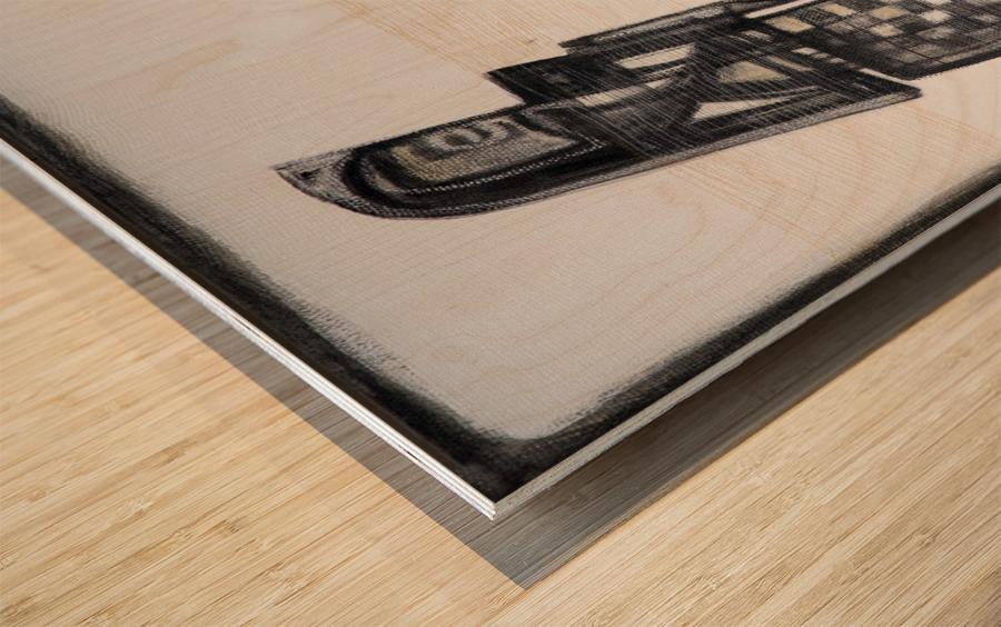 almost black white 6 Wood print