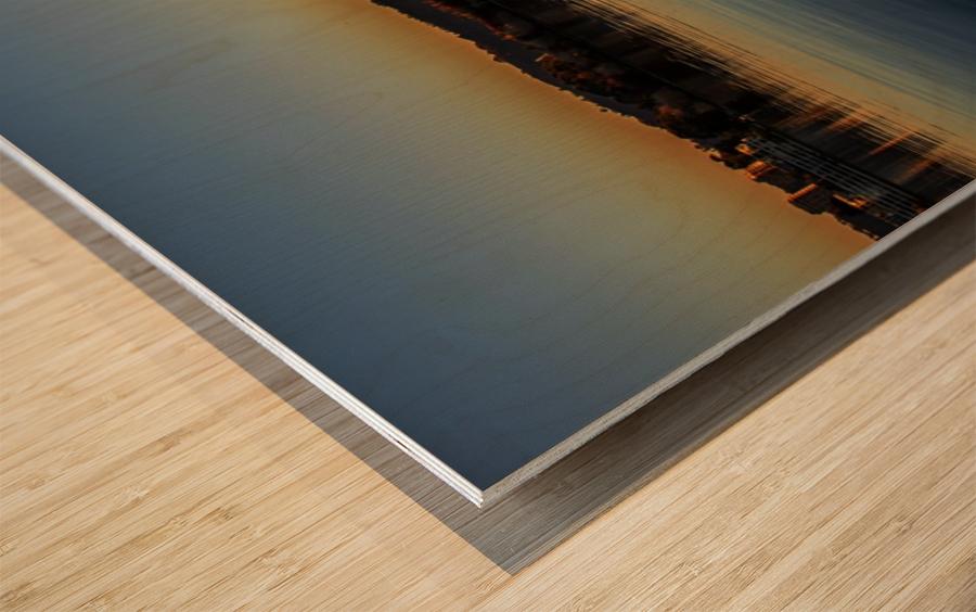 Dock at sunset Wood print