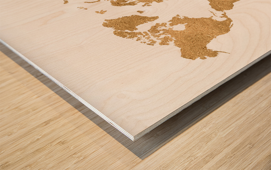 GOLD GLITTER WORLD MAP Wood print