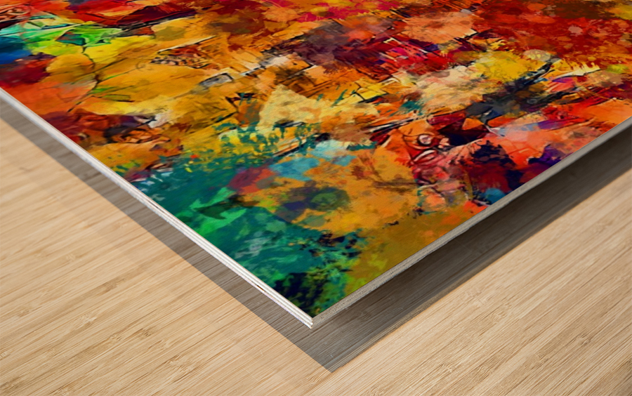 Autumn Leaves Abstract  Wood print