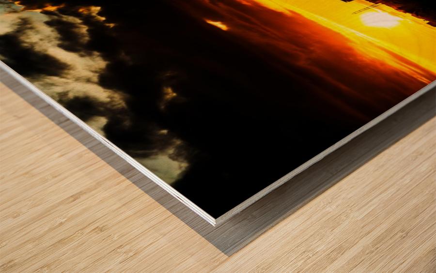 LA On fire Wood print
