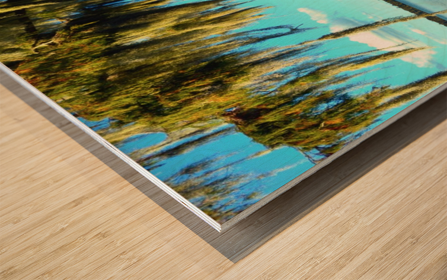 Blue Sky Green Leaves Wood print