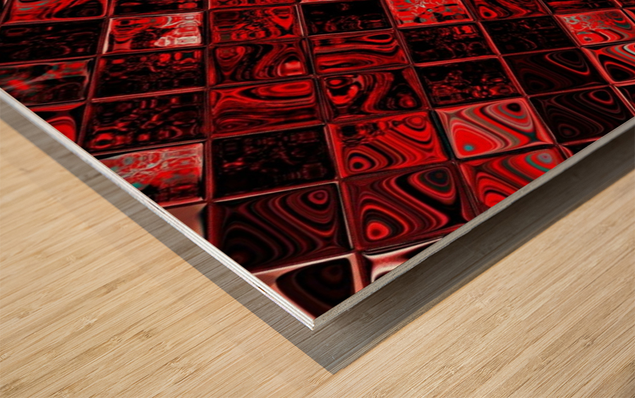 Red Glass Tiles 3 Wood print