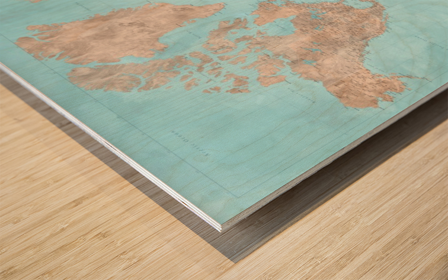 highly detailed watercolor world map in neutrals and light blue Wood print