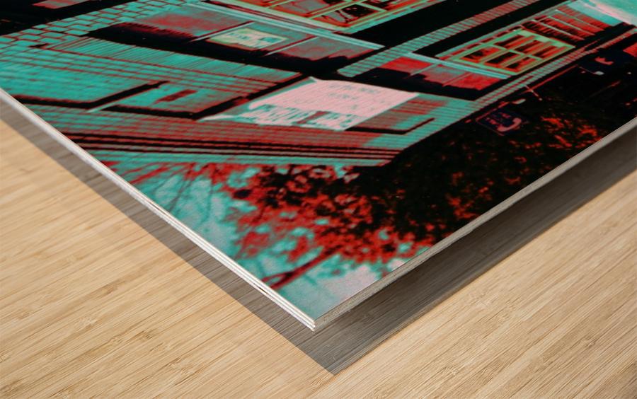Atlanta Street Scene -- Turquoise Wood print