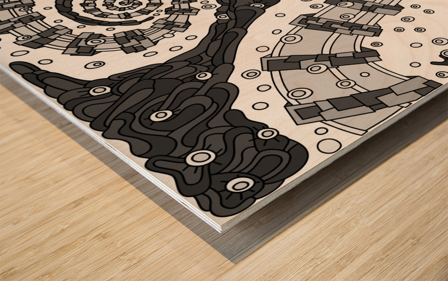 Wandering Abstract Line Art 02: Grayscale Wood print