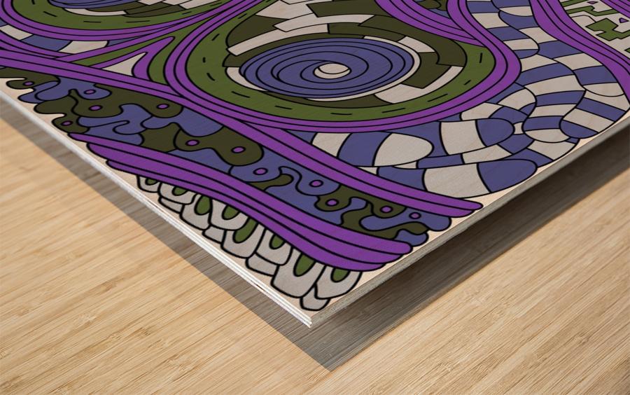 Wandering Abstract Line Art 03: Purple Wood print