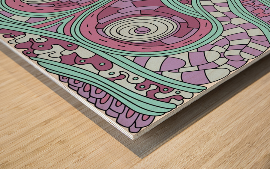 Wandering Abstract Line Art 03: Pink Wood print
