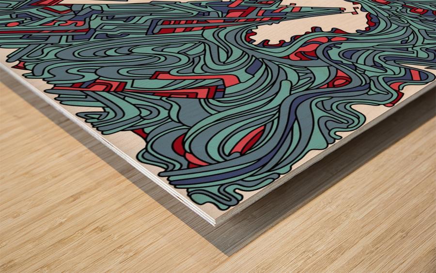 Wandering Abstract Line Art 05: Blue Wood print