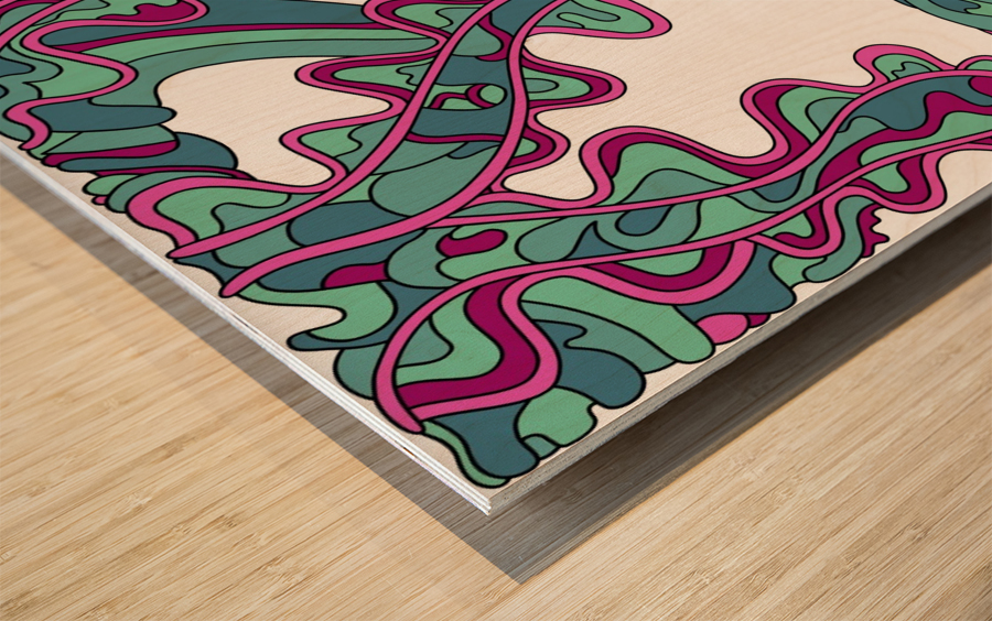 Wandering Abstract Line Art 07: Green Wood print